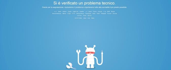"""Twitter down, social inaccessibile in tutto il mondo: terza volta in pochi giorni. """"Errore tecnico"""""""