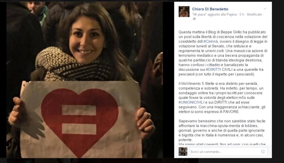 """Unioni civili, dibattito nel M5s: gli eletti lanciano #iovotosì. Di Benedetto: """"Abbiamo illuso e offeso le persone"""""""