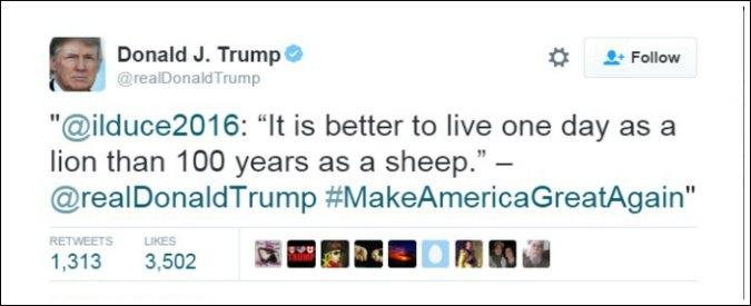 """Elezioni Usa, Trump ritwitta una frase di Mussolini: """"Meglio un giorno da leone che 100 da pecora"""""""