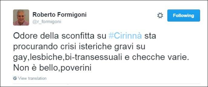 """Unioni civili, polemiche per tweet Formigoni: """"Cambio linea Grillo? Crisi isteriche di gay e checche varie"""""""