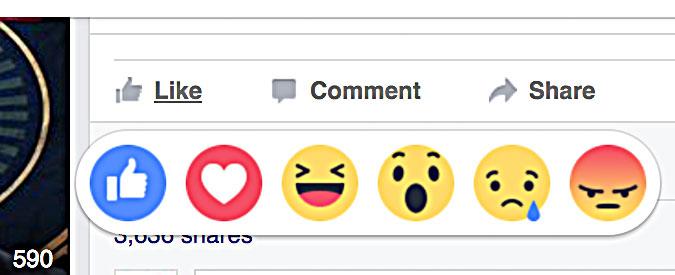 """Facebook Reactions, da oggi non solo """"mi piace"""": gli emoticon per esprimere amore tristezza o rabbia"""