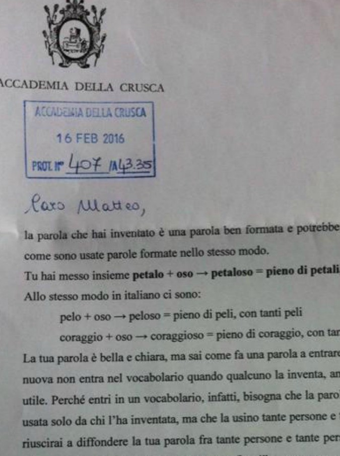 """Petaloso, tutti pazzi per la parola inventata da Matteo (8 anni). La Crusca: """"Chiara e bella"""". Treccani: """"Usiamola nelle poesie"""""""