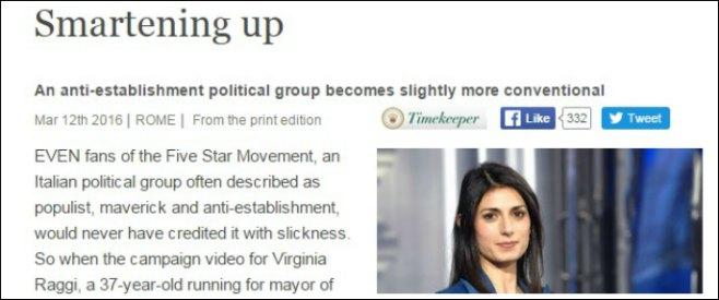 """Roma, The Economist: """"Raggi mostra che M5s sta diventando un partito normale: ha chance di vittoria"""""""