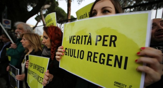 Manifestazione per Giulio Regeni davanti l'Ambasciata di Egitto