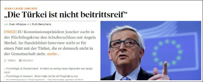 """Juncker: """"La Turchia non è pronta né oggi né tra 10 anni per entrare in Ue"""""""
