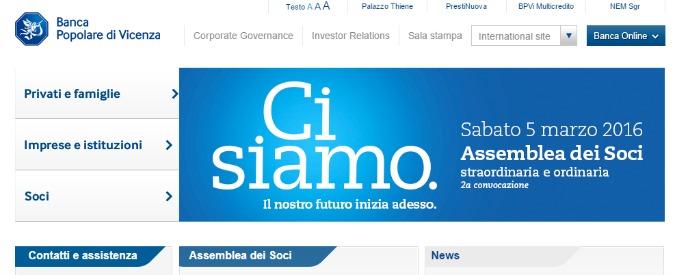 """Popolare Vicenza, Bce: """"Se non passano trasformazione in spa, aumento e quotazione rischio commissariamento"""""""