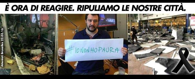 """Attentati Bruxelles, Matteo Salvini si fa fotografare con la scritta #iononhopaura. """"Io sciacallo? Meglio che imbecille"""""""