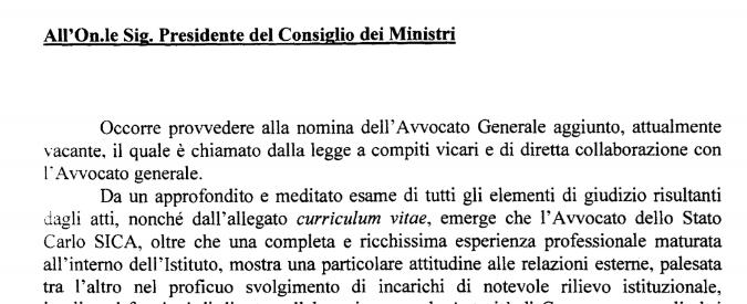 Avvocatura dello Stato, la nomina di Sica: ecco la lettera di proposta al presidente del Consiglio Renzi