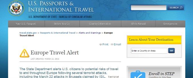 Attentati Bruxelles, gli Stati Uniti emanano l'allerta per i viaggi in Europa. In un documento le regole da seguire