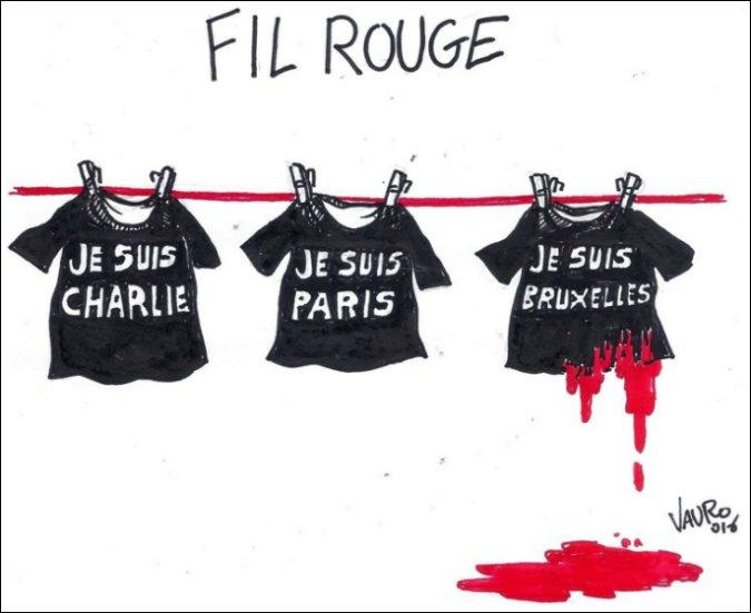 "Attentati Bruxelles – ""Fil rouge"": la vignetta di Vauro"