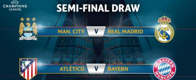 Champions League, sorteggi semifinali: Manchester City-Real Madrid e Atletico contro Bayern Monaco – Video