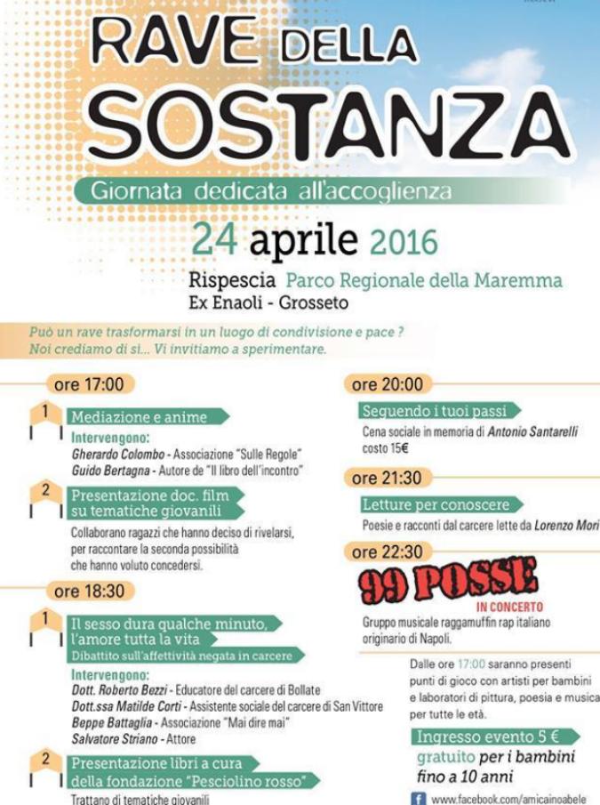 """Rave della sostanza, il 24 aprile a Grosseto con Striano e i 99 Posse: """"Droga e musica assordante non sono la soluzione"""""""