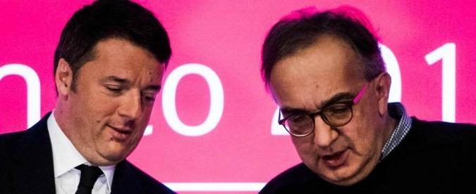 """Renzi: """"In questo paese ha fatto più Marchionne che certi sindacalisti"""""""