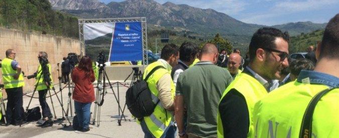 """Sicilia, Renzi inaugura viadotto Himera. Ma è la carreggiata che non è mai crollata e fu """"battezzata"""" la prima volta nel 1975"""