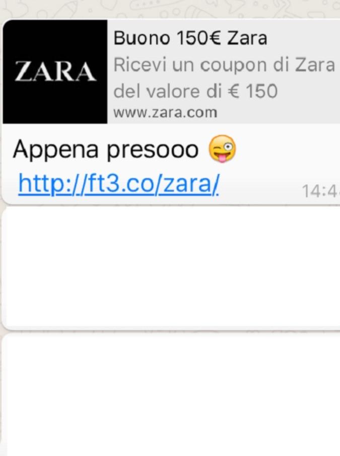 WhatsApp, la bufala del finto buono di Zara invade gli smartphone