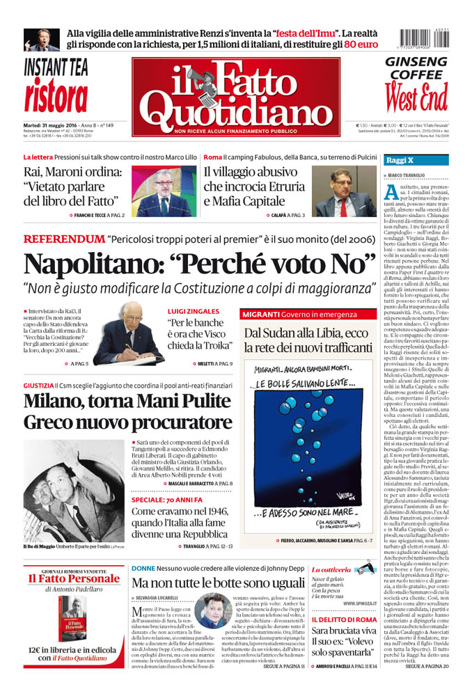 """Prima Pagina Il Fatto Quotidiano - Napolitano: """"Perché voto No"""""""