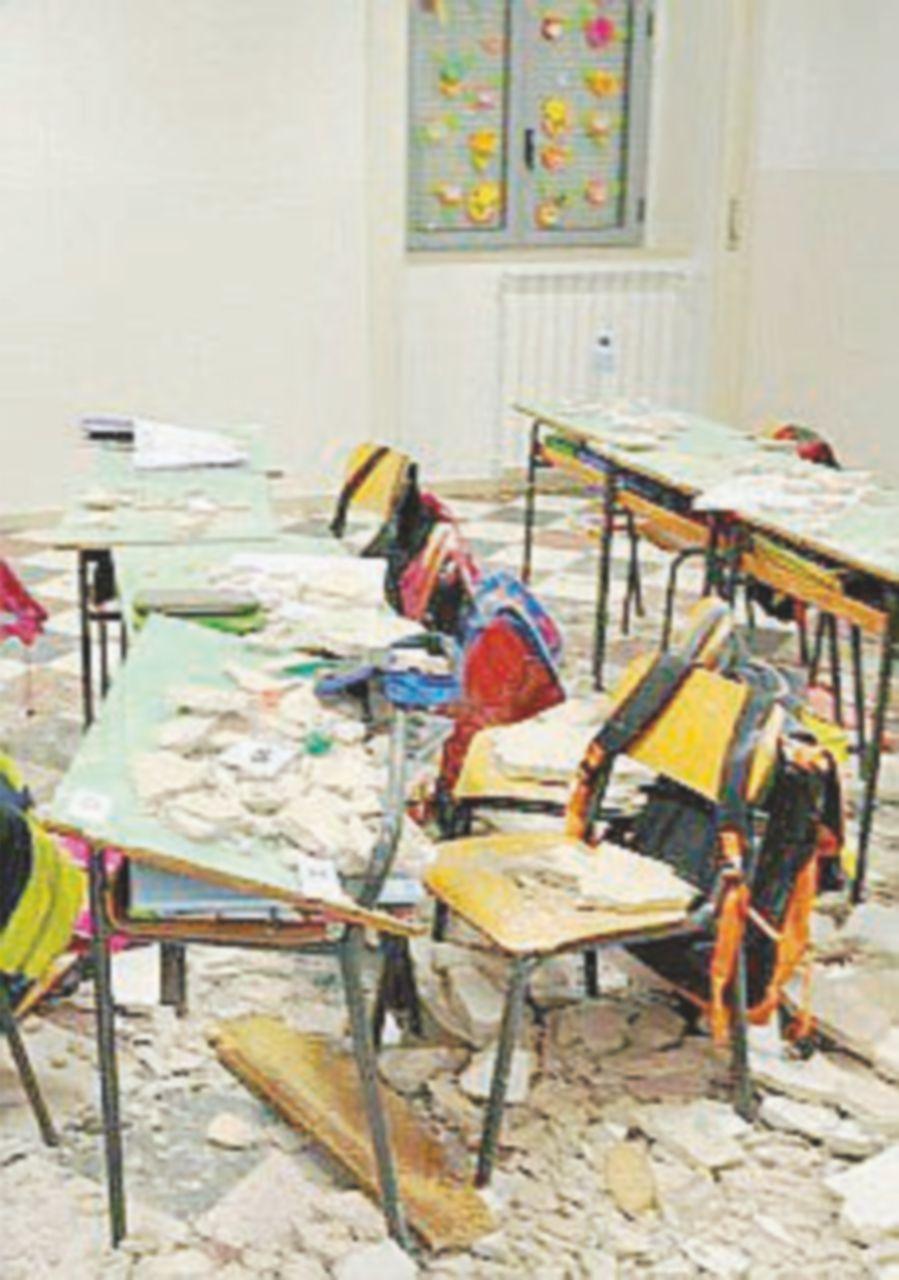 Crolla il soffitto  della scuola: quattro studenti feriti