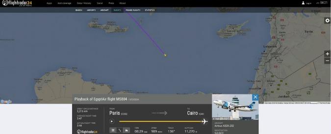 Egyptair, il tracciato su Flightradar24 dell'aereo: il segnale radar si perde nel Mediterraneo
