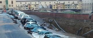 """Firenze, voragine di 200 metri sul Lungarno vicino a Ponte Vecchio. Nardella: """"Nessun ferito, ma danni pesantissimi"""". Aperta un'inchiesta (FOTO)"""