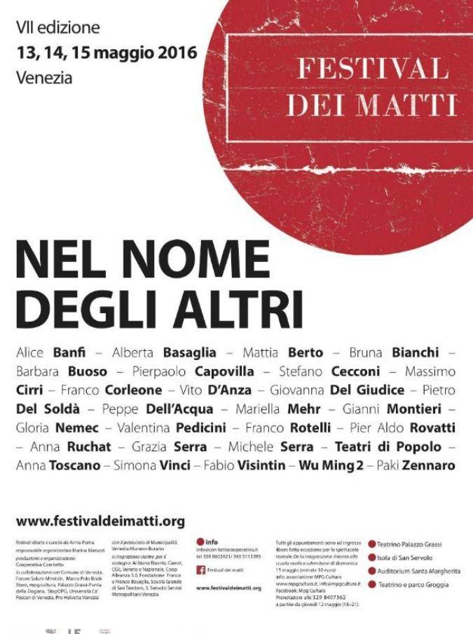 """Festival dei matti Venezia, dal 13 al 15 maggio: """"Dobbiamo confrontarci con la follia, condizione umana che riguarda tutti noi"""""""