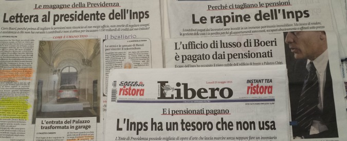 Inps, la campagna di Libero (di Angelucci) in soccorso de Il Tempo (di Angelucci) che non paga l'affitto a Boeri