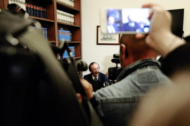 Conferenza stampa di Pino Maniaci e dei suoi legali