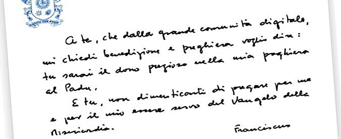 Papa Francesco lancia la sua prima benedizione social. Su Instagram e Twitter biglietto di suo pugno