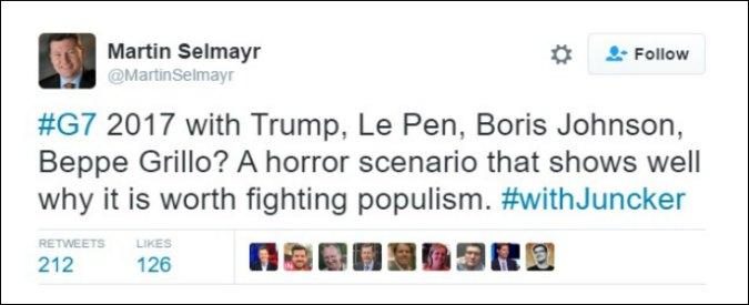 """M5s, polemica per il tweet del braccio destro di Juncker: """"G7 con Trump, Le Pen, Johnson e Grillo? Scenario da horror"""""""