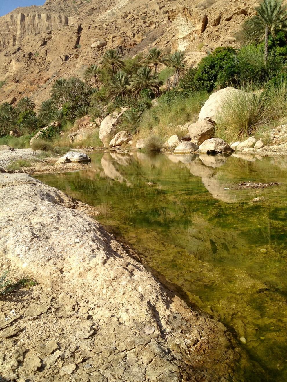 Un laghetto vicino al villaggio di Al-Hamra