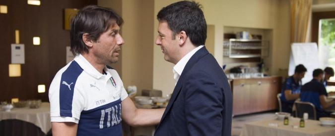 Matteo Renzi in visita alla Nazionale nel ritiro pre-Europeo di Coverciano