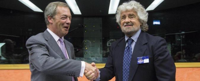 """M5s torna con Farage. Grillo: """"Accordo rinnovato, rinunciamo a co-presidenza. Verhofstadt? Piegato all'establishment"""""""