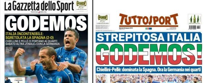 Italia – Spagna, abbiamo un problema coi titolisti. E Paola Ferrari fa l'euroscettica