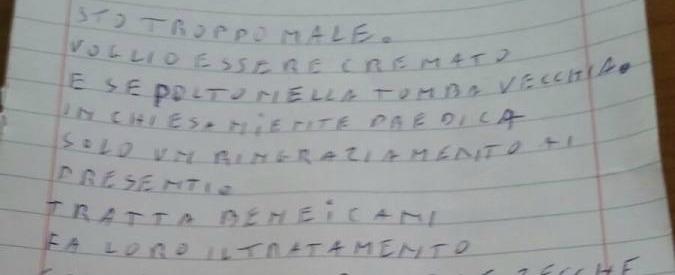 """Pop Vicenza, la lettera dell'azionista suicida: """"Sto troppo male. Tratta bene i cani"""""""