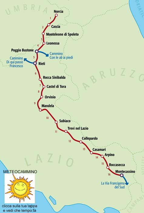 Cammino di San Benedetto mappa
