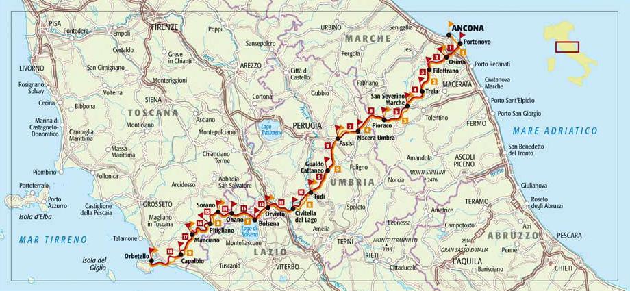 Italia Coast to Coast mappa