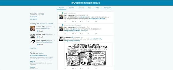 Unioni civili, dal web sale il grido #Angelinomollaildecreto