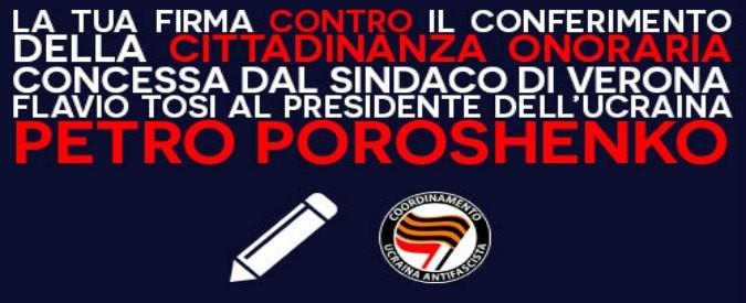 Verona, contro la cittadinanza onoraria all'ucraino Poroshenko un appello a Mattarella