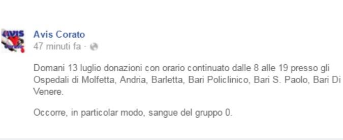 Puglia, serve sangue all'ospedale di Andria: gruppo sanguigno Zero