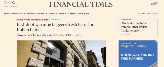 """Banche, Financial Times e Wall Street Journal: """"Timori per l'Italia, rischia una crisi che può contagiare l'Eurozona"""""""