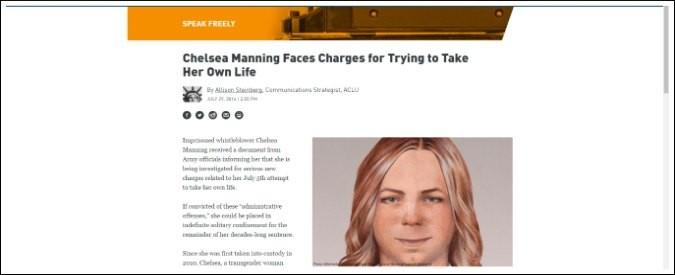 Usa, la giustizia contro Chelsea Manning. In isolamento perché tentò il suicidio