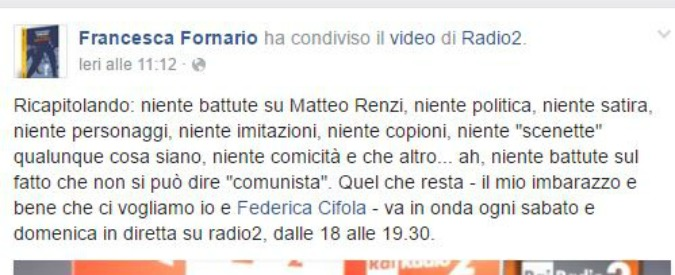 """Rai, Fornario: """"In Radio niente battute su Renzi e niente politica"""". Telese: """"Chi ha dato ordine dovrebbe dimettersi"""""""