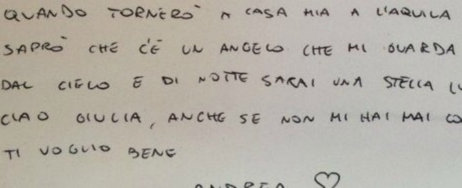 """Terremoto Centro Italia, la lettera del vigile del fuoco alla bambina che non ce l'ha fatta: """"Scusa se siamo arrivati tardi"""""""