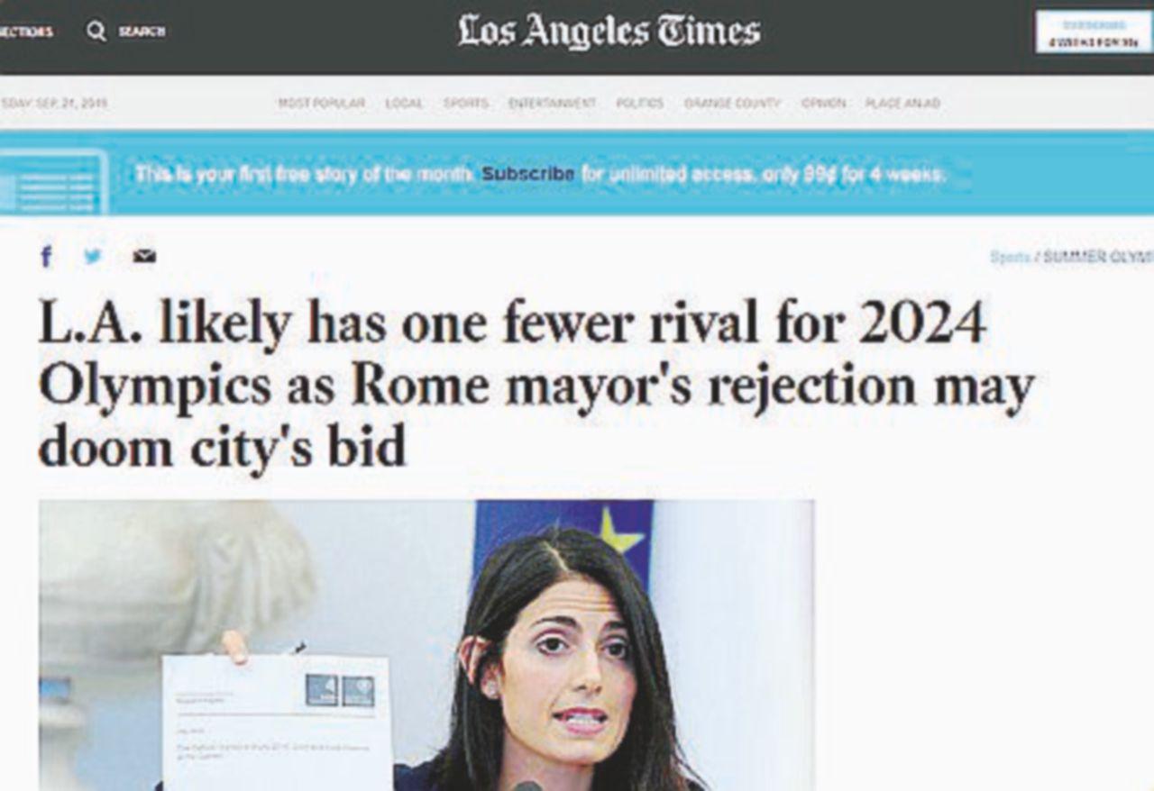 """Il quotidiano esulta: """"Una rivale in meno per Los Angeles"""""""