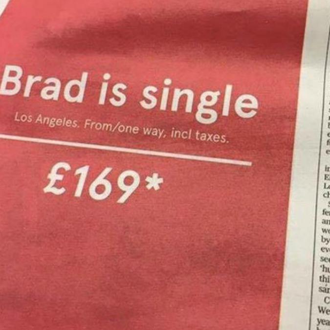 """""""Brad è single"""" e i voli per andare a Los Angeles costano poco: cosĂŹ la compagnia aerea invita """"a provarci"""""""