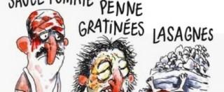 """Charlie Hebdo, vignetta sul sisma: morti come lasagne. Bufera sul giornale, che risponde: """"Prendetevela con la mafia"""""""