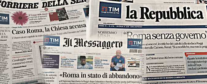 """Virginia Raggi, l'Osservatore Romano e il pezzo sul maltempo che diventa """"caso"""". Vaticano: """"Non è un attacco alla Raggi"""""""