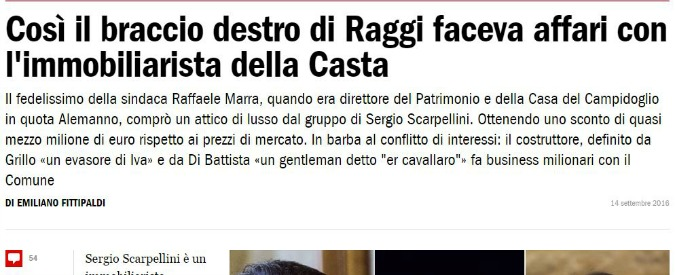 """Roma, """"ex vice capo di gabinetto Marra ha comprato casa da Scarpellini con uno sconto da mezzo milione"""""""