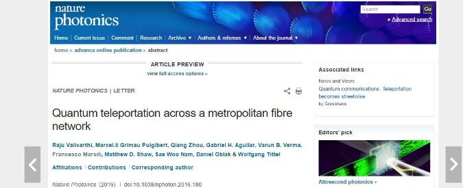 """Teletrasporto, Nature: """"Per la prima volta un trasferimento di quanti attraverso fibre ottiche casalinghe"""""""