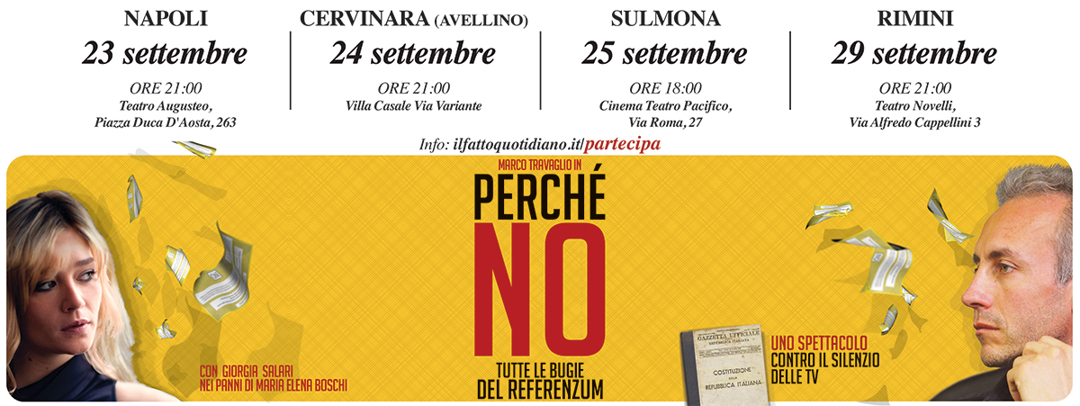 PERCHÉ NO, lo spettacolo di Marco Travaglio sul referendum costituzionale. Le date del tour