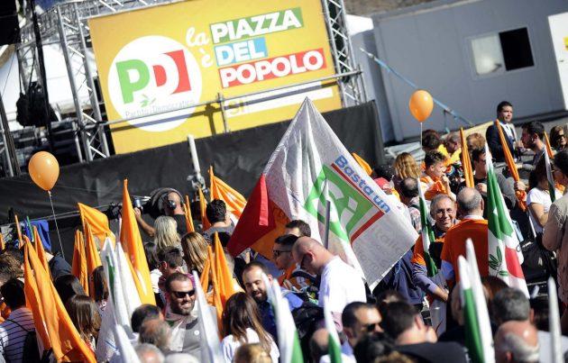 Piazza del Popolo, manifestazione del Partito Democratico